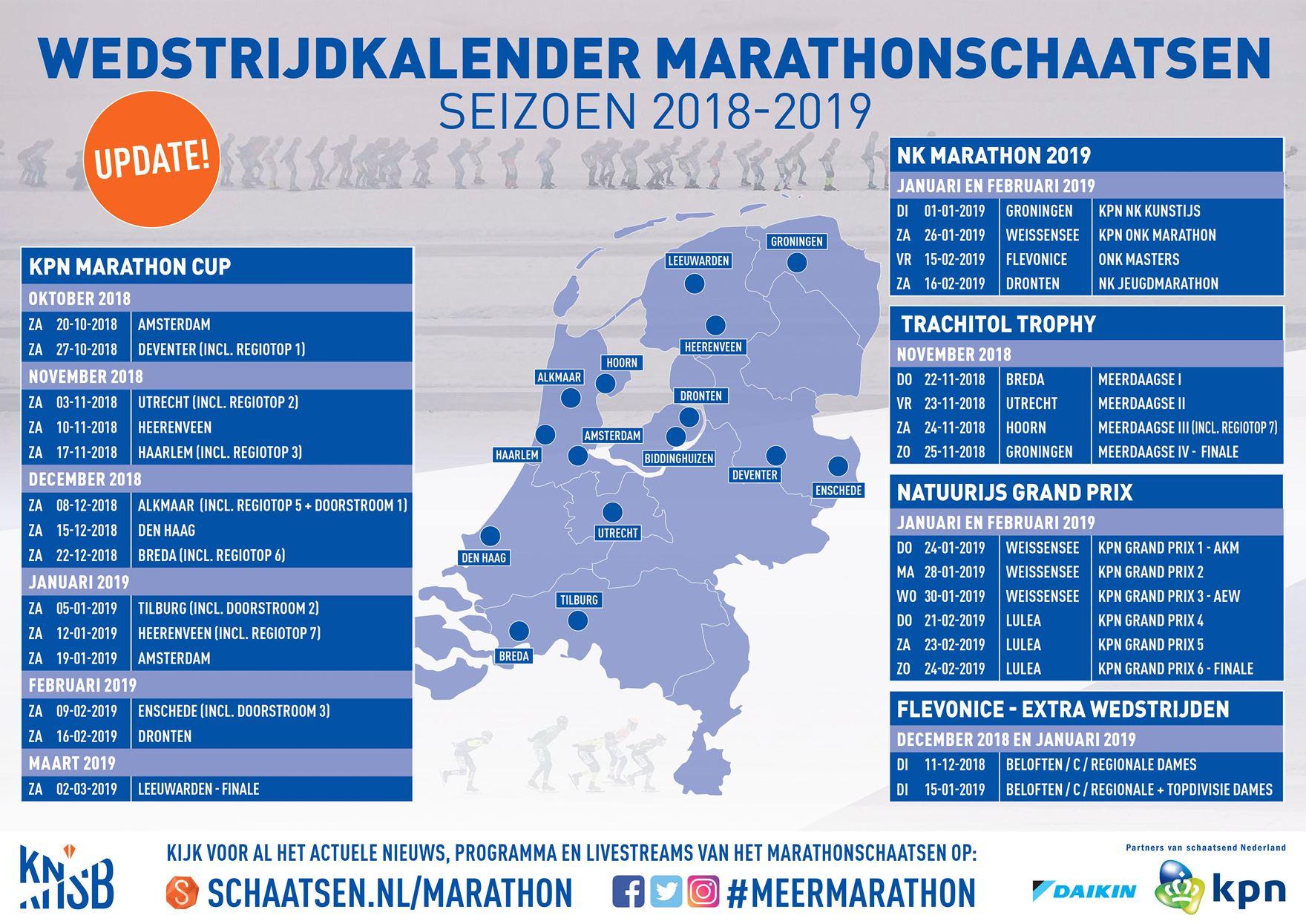 Marathonschaatsen-kalender - 2018-2019