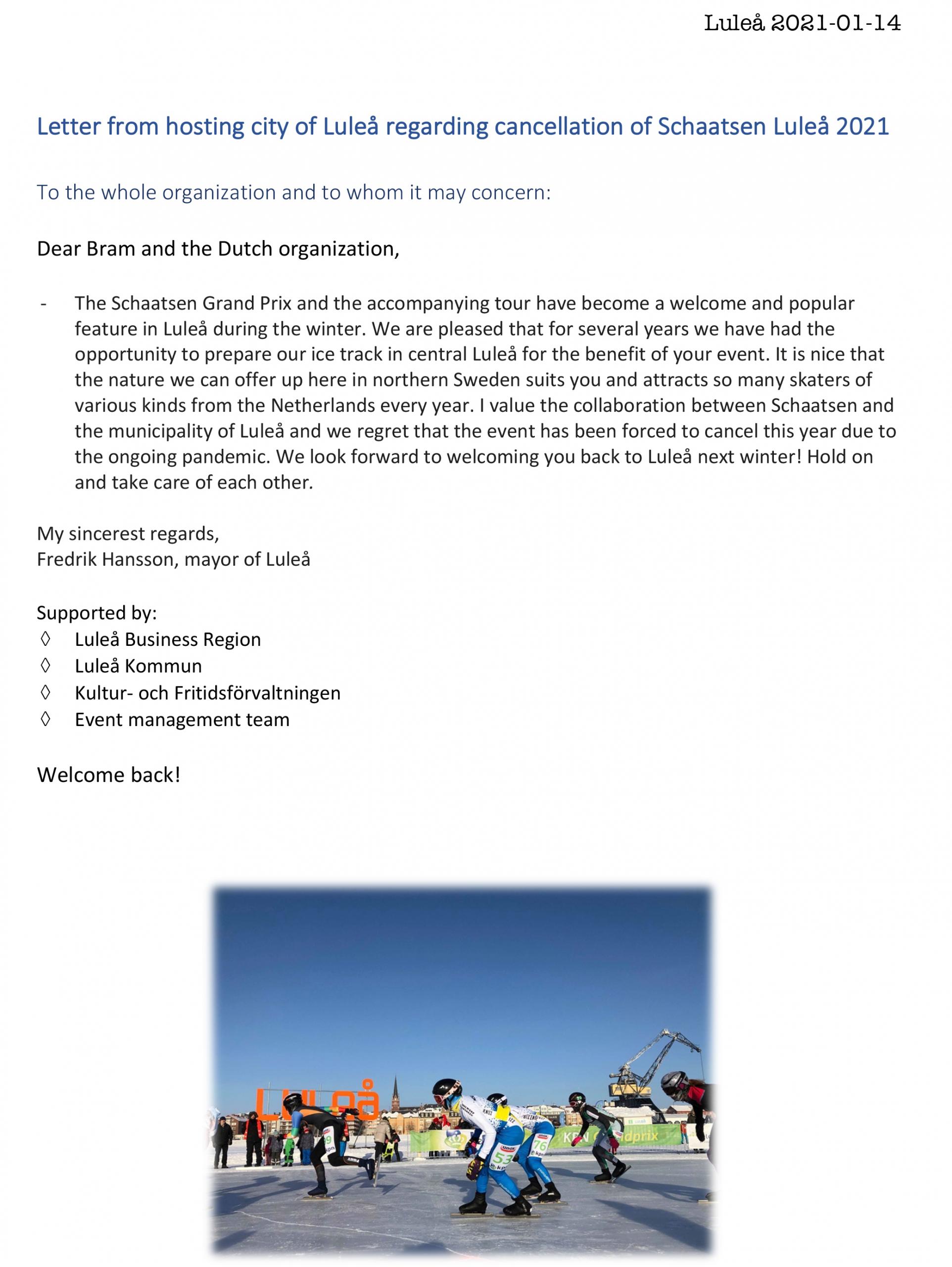 brief burgemeester lulea